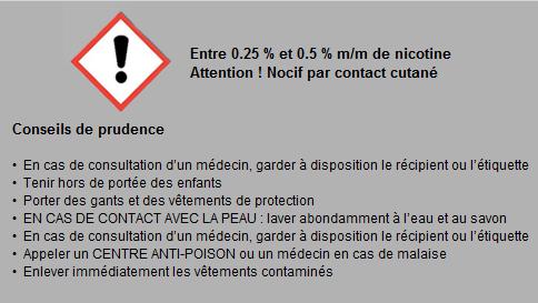 de 0.25 à 0.5 m/m conseil de prudence sur la nicotine